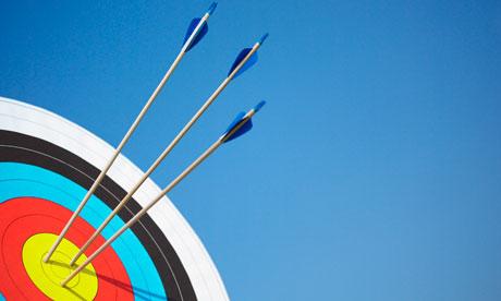 Arrows in a bullseye