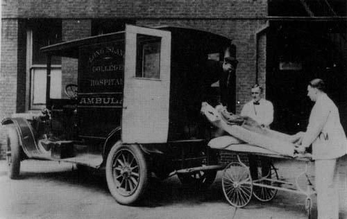 An early motorized version of a LICH ambulance.